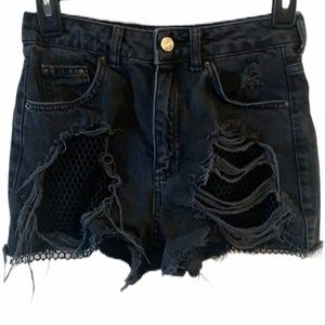 Topshop Black High Waist Moto Mom Shorts